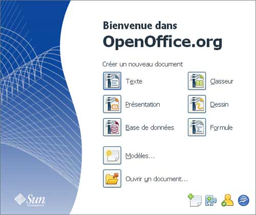 centre démarrage Open office